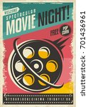 movie poster design with film... | Shutterstock .eps vector #701436961