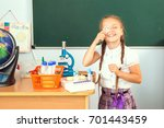young girl making science... | Shutterstock . vector #701443459