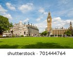 Big Ben and the Palace of Westminster, side from Parliament Square Garden, landmark of London, UK