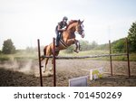 Stock photo young female jockey on horse leaping over hurdle 701450269