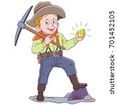 cartoon gold miner  isolated on ... | Shutterstock .eps vector #701452105