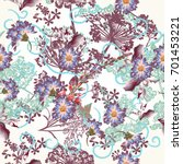 floral wallpaper pattern with... | Shutterstock .eps vector #701453221