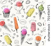 Sweet dessert seamless pattern. Hand drawn ice cream cones and popsicles. Ink sketch illustration with colorful shapes for menu or food package design.