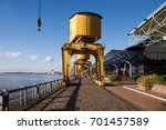 yellow docks in a touristic... | Shutterstock . vector #701457589