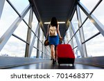 young girl traveler walking... | Shutterstock . vector #701468377