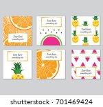 vector set of mix fruit postcard | Shutterstock .eps vector #701469424