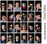 a collage of photographs with... | Shutterstock . vector #701472901