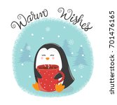 merry christmas card with cute... | Shutterstock .eps vector #701476165