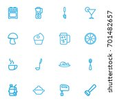 set of 16 editable cook outline ...