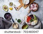 fresh healthy vegetarian bowl... | Shutterstock . vector #701483047