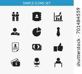 set of 12 editable job icons.... | Shutterstock .eps vector #701484559