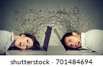 stressed business woman and man ... | Shutterstock . vector #701484694