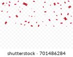 many falling red tiny confetti... | Shutterstock .eps vector #701486284