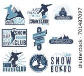 vector badge theme snowboard in ... | Shutterstock .eps vector #701487097