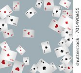 Playing Cards Falling On A Gra...