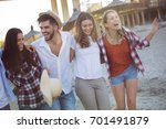 group of happy young friends... | Shutterstock . vector #701491879