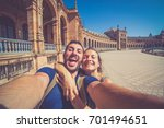 happy smiling couple take photo ... | Shutterstock . vector #701494651