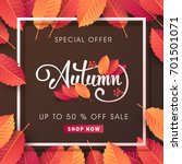 autumn sale background layout... | Shutterstock .eps vector #701501071