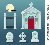 a set of scary graveyard items... | Shutterstock .eps vector #701507011