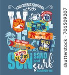 kids surfing team west coast... | Shutterstock .eps vector #701509207