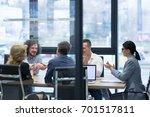 business partner shake hands on ... | Shutterstock . vector #701517811