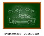 car drawing on blackboard | Shutterstock .eps vector #701539105