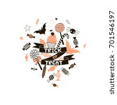 trick or treat  happy halloween ... | Shutterstock .eps vector #701546197