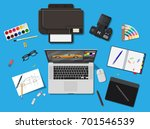 designer workplace. illustrator ... | Shutterstock .eps vector #701546539