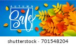 autumn sale banner background... | Shutterstock .eps vector #701548204