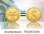 concept of tether  or usdt ... | Shutterstock . vector #701551534