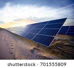 sunset in the desert solar... | Shutterstock . vector #701555809