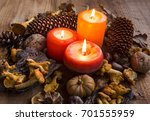 Fall Candles Decorations With...