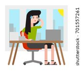 illustration of a woman busy at ... | Shutterstock .eps vector #701557261