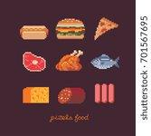 pixel art style food icons set  ... | Shutterstock .eps vector #701567695