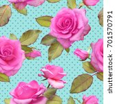 Stock photo seamless photo realistic pattern of pink roses on a turquoise background in polka dots 701570791