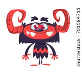 happy black monster character... | Shutterstock .eps vector #701584711