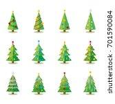 christmas tree flat design... | Shutterstock .eps vector #701590084