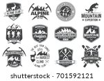 set of mountain expedition... | Shutterstock .eps vector #701592121