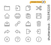 application toolbar thin icons. ... | Shutterstock .eps vector #701592235