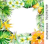 beautiful tropical palm leaves... | Shutterstock . vector #701592709