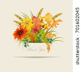 floral thank you card with... | Shutterstock .eps vector #701602045