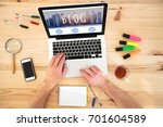 blog  hands writing on keyboard ... | Shutterstock . vector #701604589