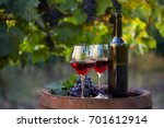 two glasses of red wine and... | Shutterstock . vector #701612914