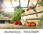 fresh autumn vegetables on a... | Shutterstock . vector #701623609