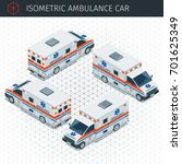 isometric ambulance car. 3d... | Shutterstock .eps vector #701625349