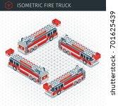 isometric fire truck. 3d vector ... | Shutterstock .eps vector #701625439