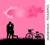 silhouette of couple in love... | Shutterstock .eps vector #701626921