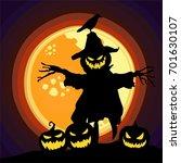 halloween pumpkin theme art...   Shutterstock .eps vector #701630107