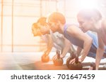 dedicated people doing pushups... | Shutterstock . vector #701647459