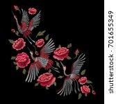 Crane Bird  Flowers  Rose ...